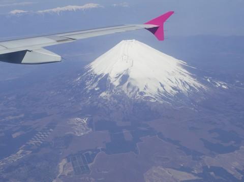 飛行機から見下ろす富士山